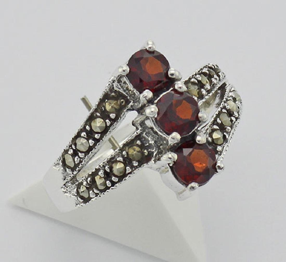 Antique Style Garnet Marcasite Ring - Sterling Silver