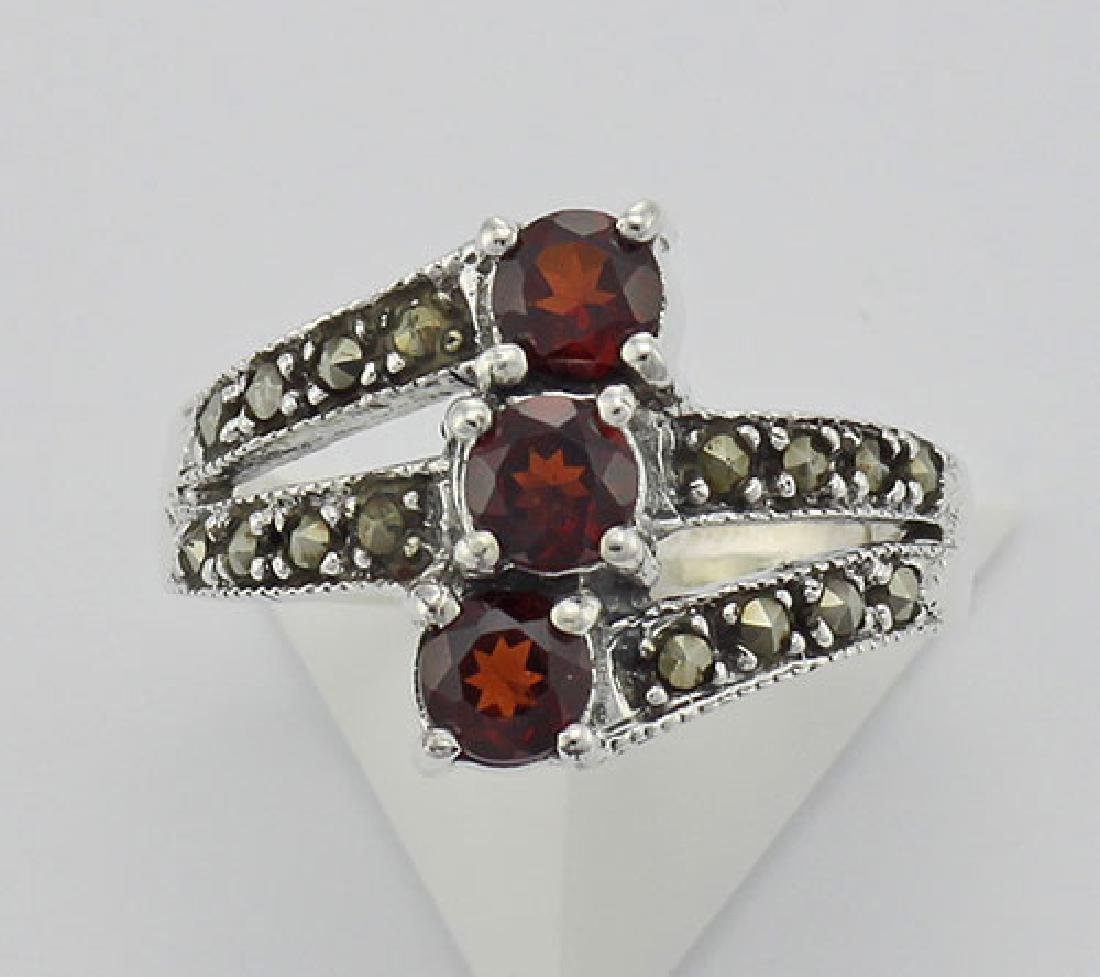Antique Style Garnet Marcasite Ring - Sterling Silver - 2