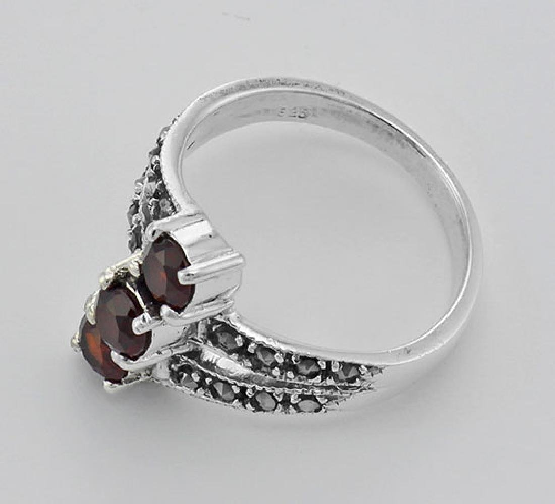 Antique Style Garnet Marcasite Ring - Sterling Silver - 3