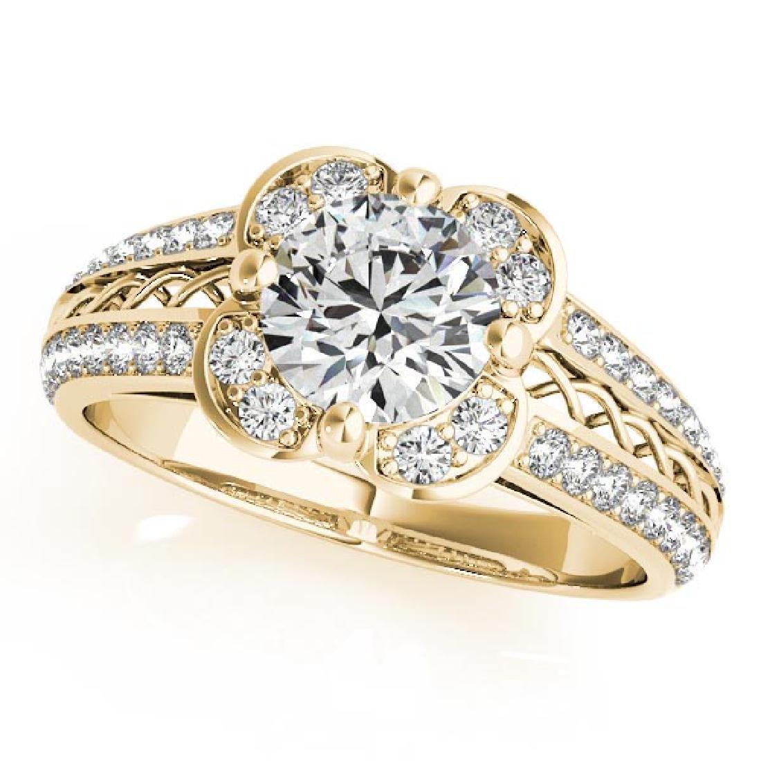 CERTIFIED 18K YELLOW GOLD .88 CT G-H/VS-SI1 DIAMOND HAL