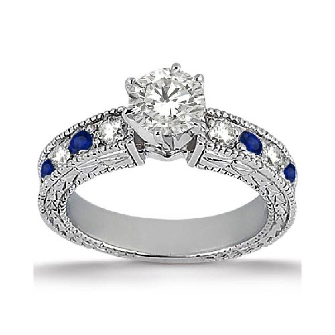 Antique Diamond and Blue Sapphire Engagement Ring 14k W