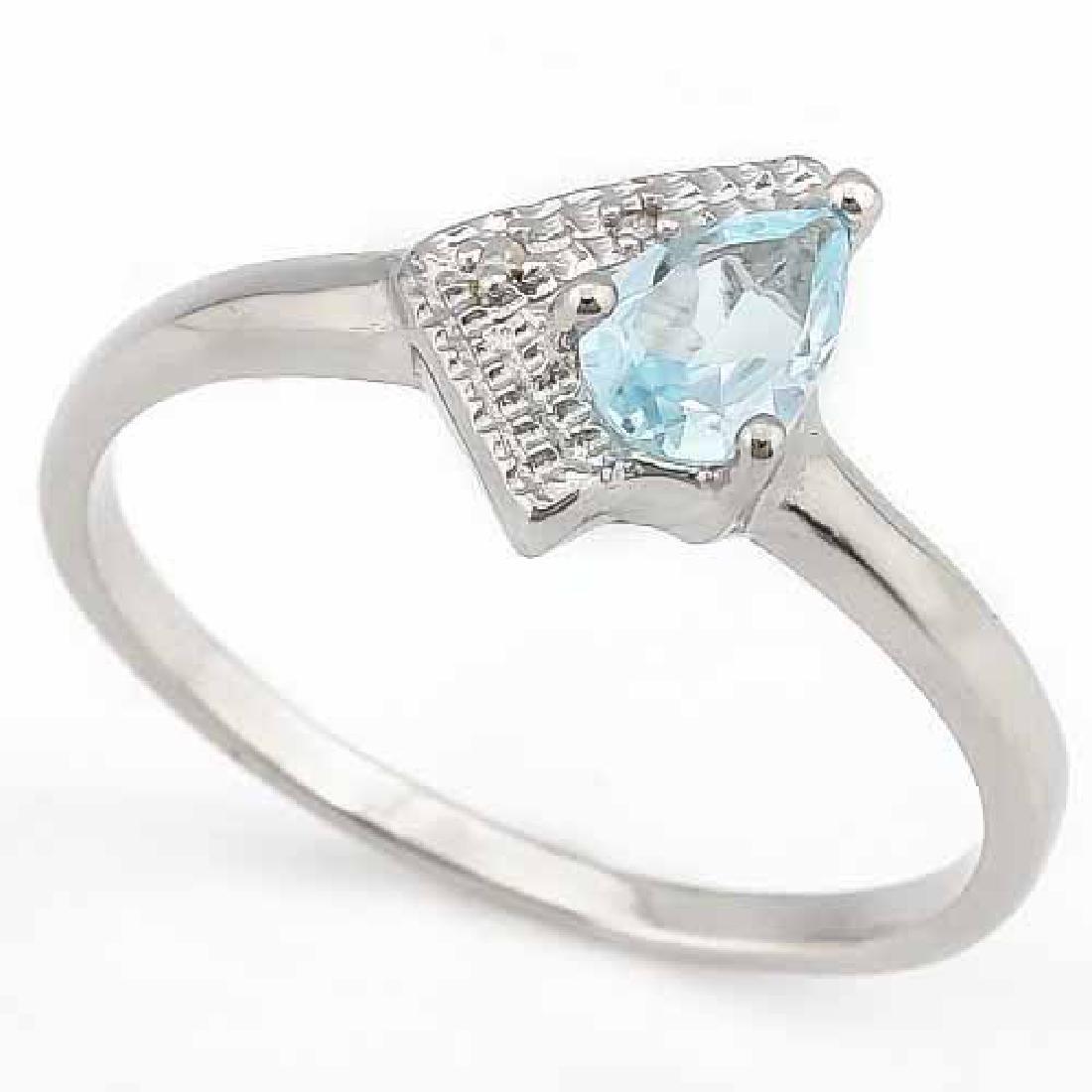 1/3 CARAT AQUAMARINE & DIAMOND 925 STERLING SILVER RING