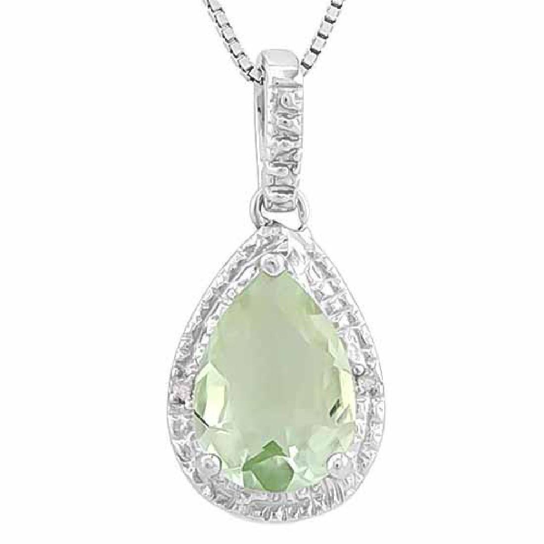 2.34 CT GREEN AMETHYST & 2PCS GENUINE DIAMOND 925 STERL