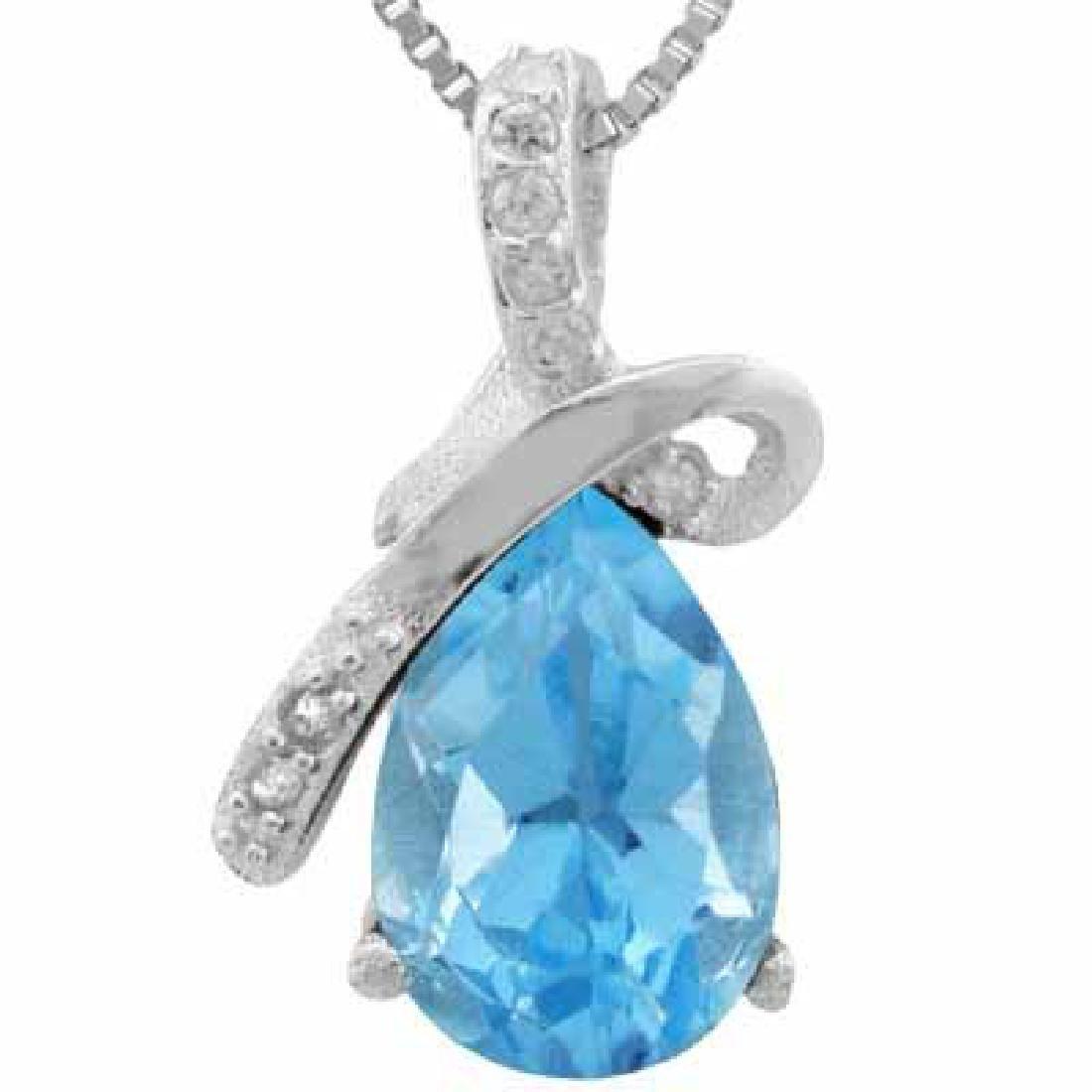 1.512 CARAT TW BLUE TOPAZ & DIAMOND PLATINUM OVER 0.925