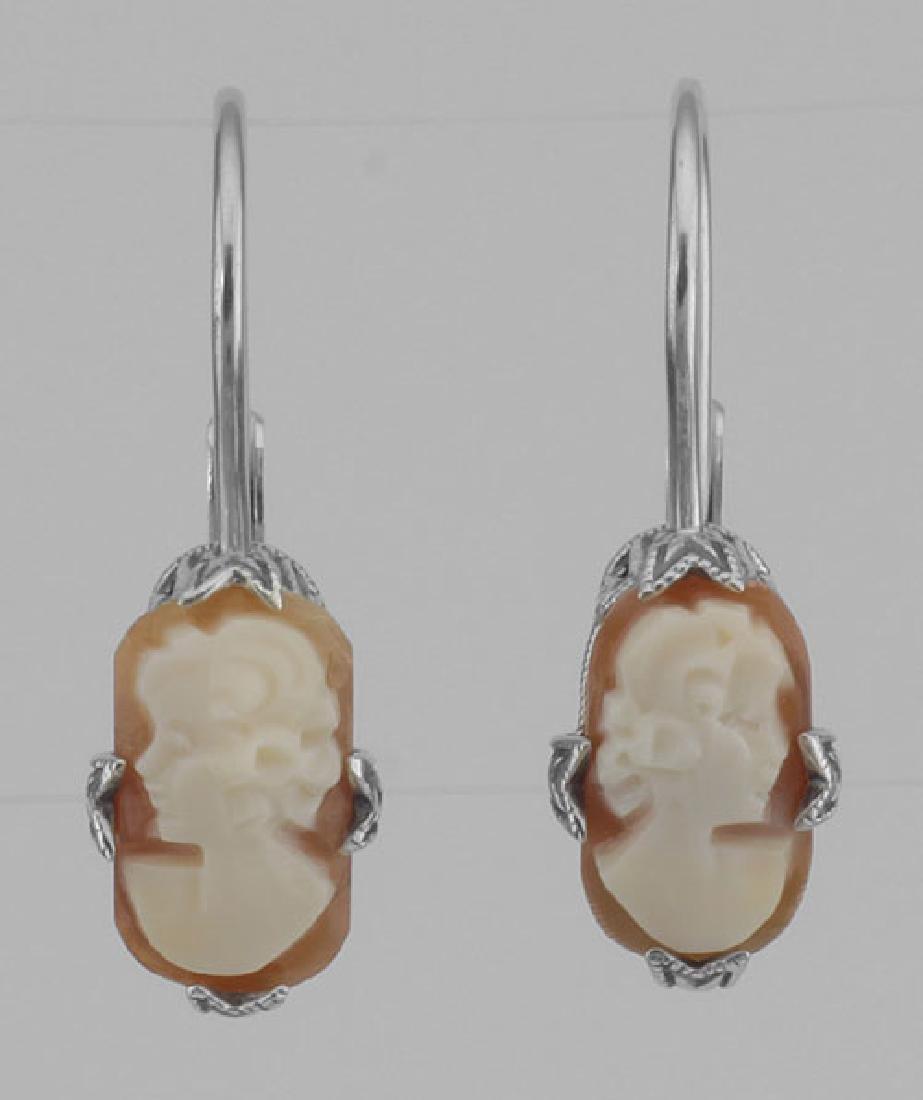 Hand Carved Italian Shell Cameo Filigree Earrings in Fi