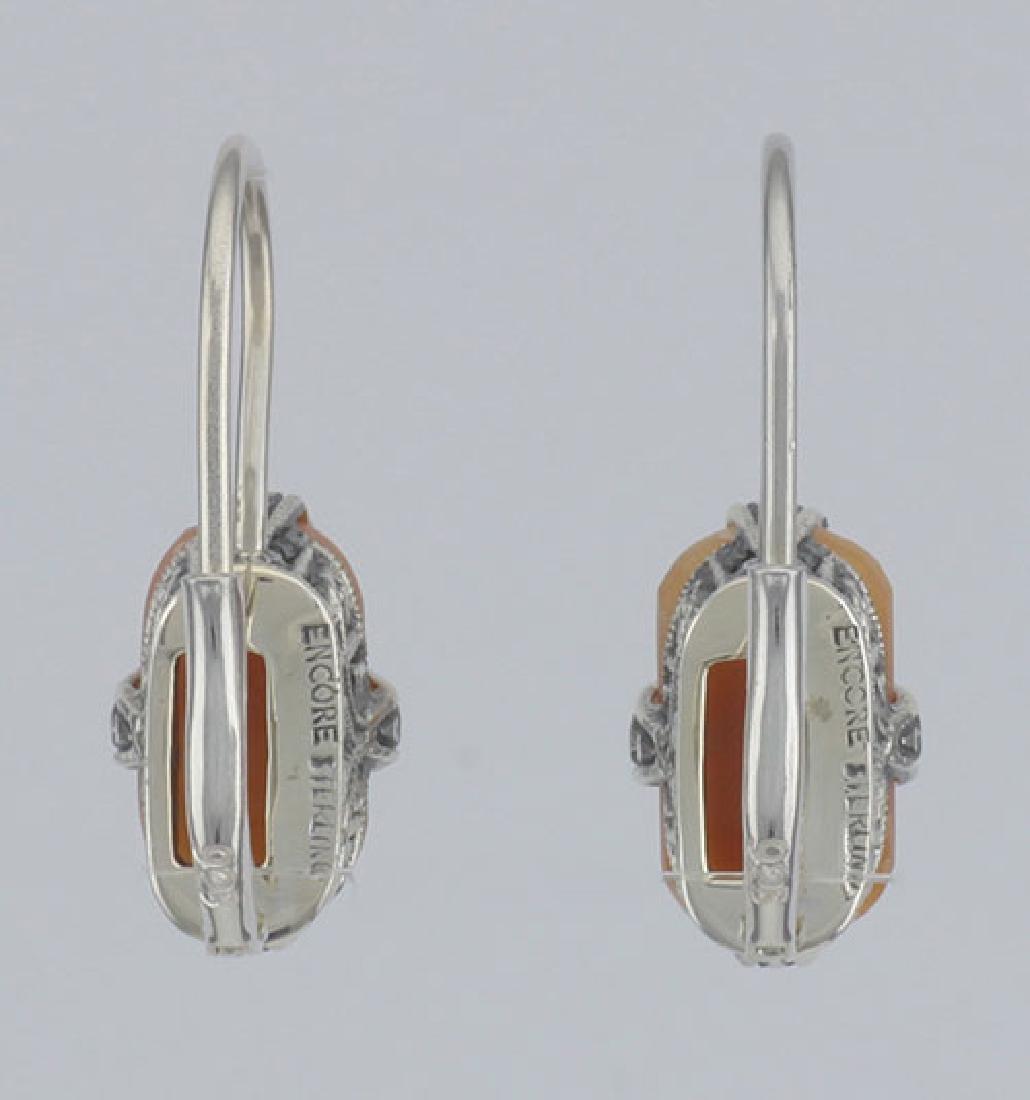 Hand Carved Italian Shell Cameo Filigree Earrings in Fi - 2