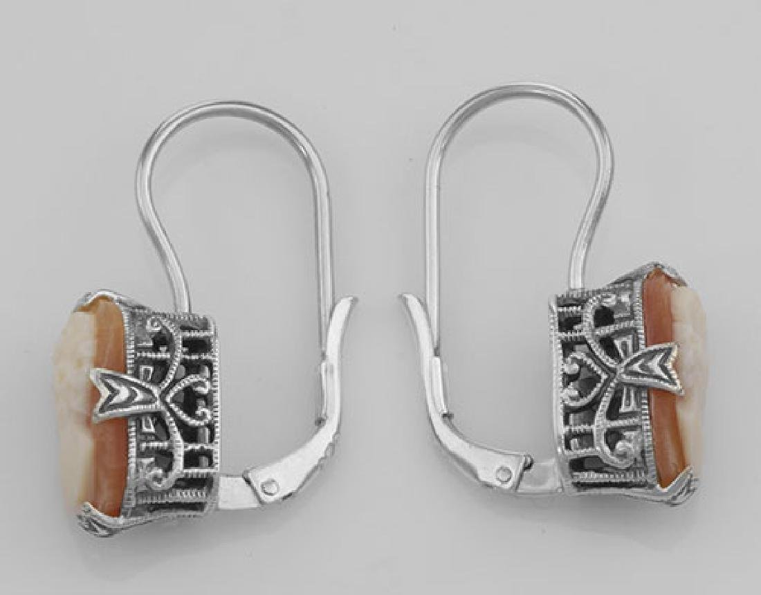Hand Carved Italian Shell Cameo Filigree Earrings in Fi - 3
