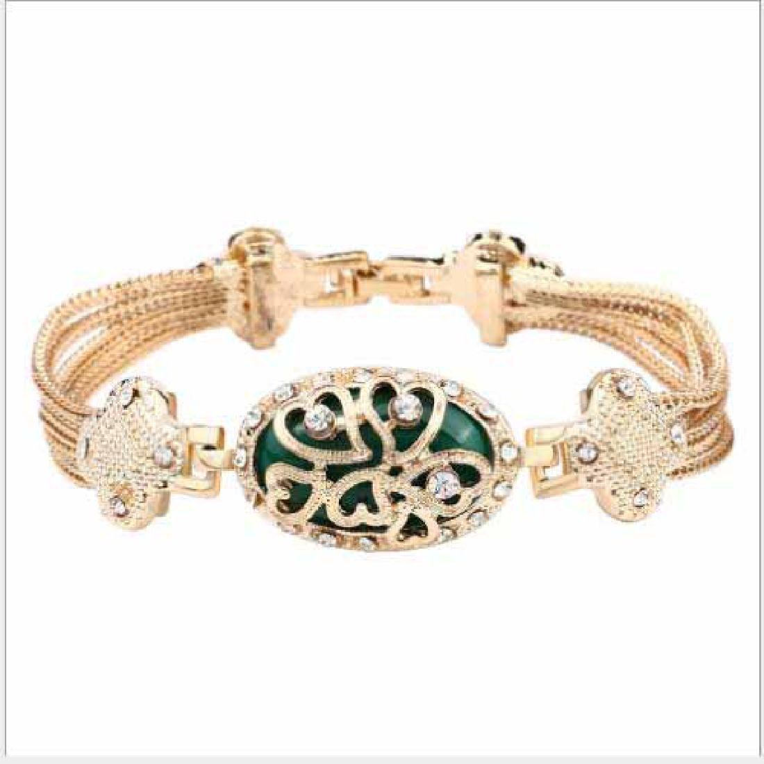 CREATED GREEN STONE 18K GOLD PLATED GERMAN SILVER BRACE