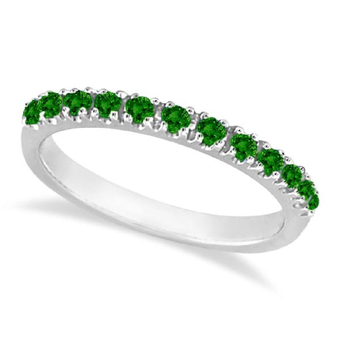 Emerald Semi-Eternity Band Stackable Ring in 14K White