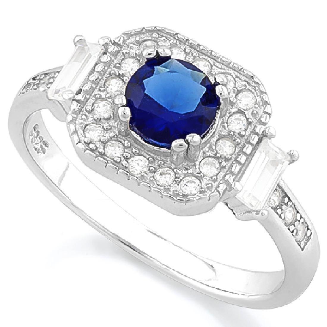 3/5 CARAT CREATED BLUE SAPPHIRE & 1/4 CARAT (24 PCS) FL