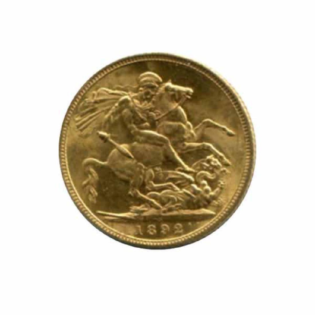 Australia Sydney Mint 1 sovereign gold 1892 AU+