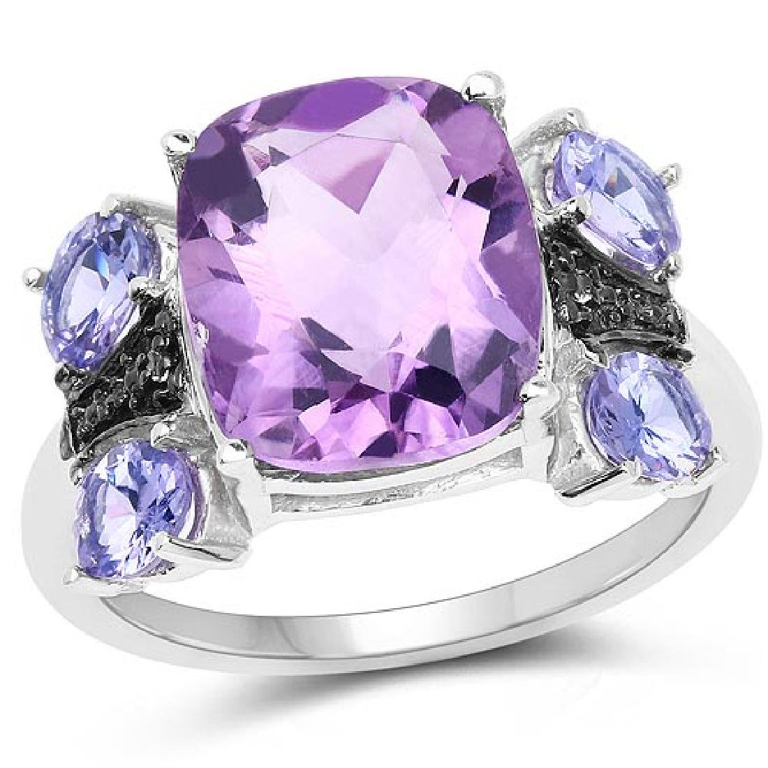 5.53 Carat Genuine Amethyst Tanzanite and White Topaz