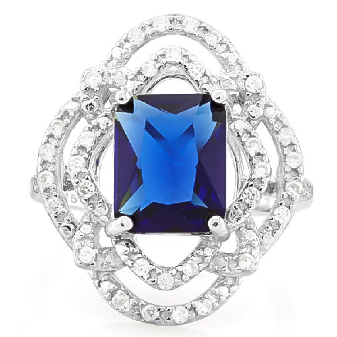 4.00 CT CREATED BLUE SAPPHIRE & 40PCS CREATED DIAMOND 9