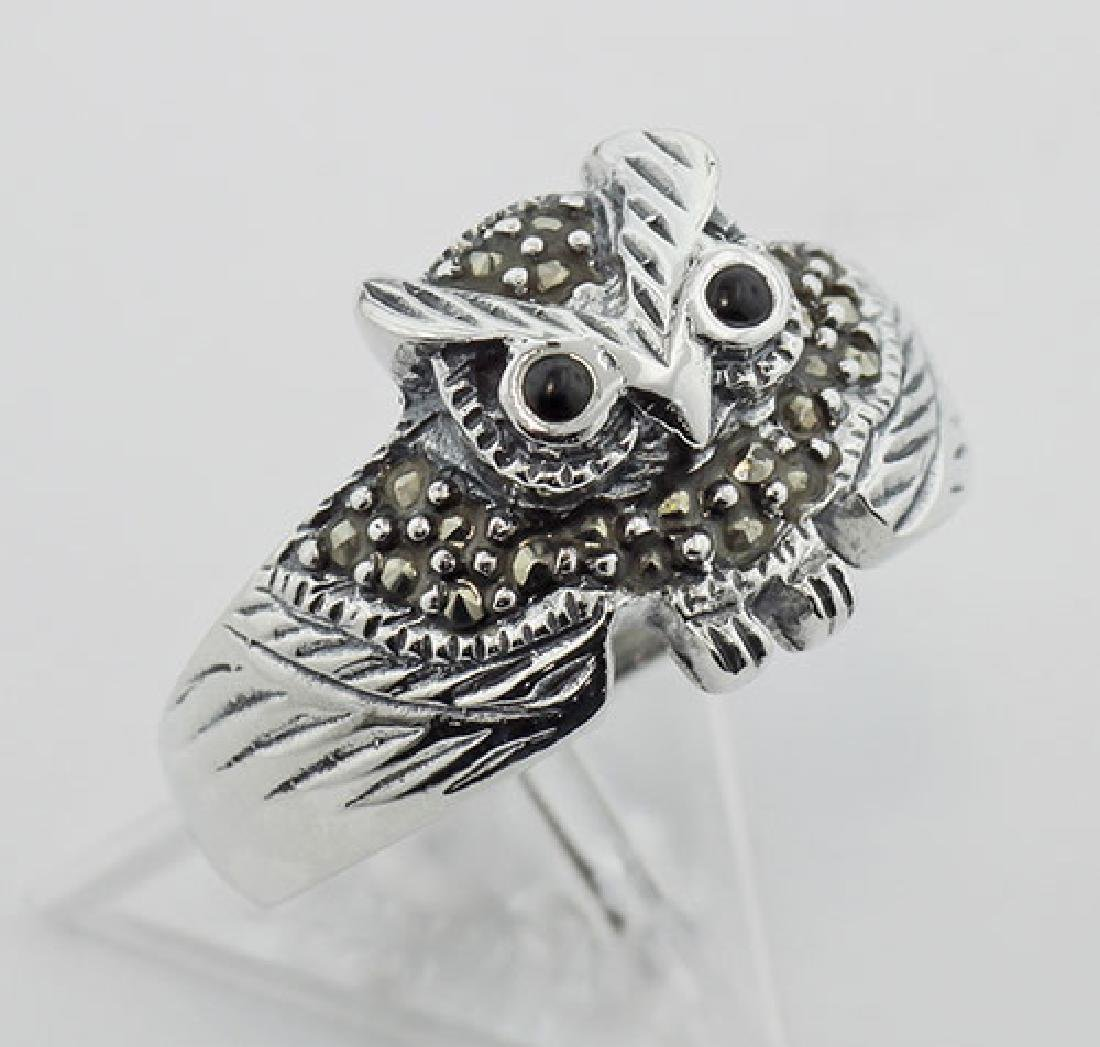 Marcasite Owl Ring w/ Onyx Eyes - Sterling Silver