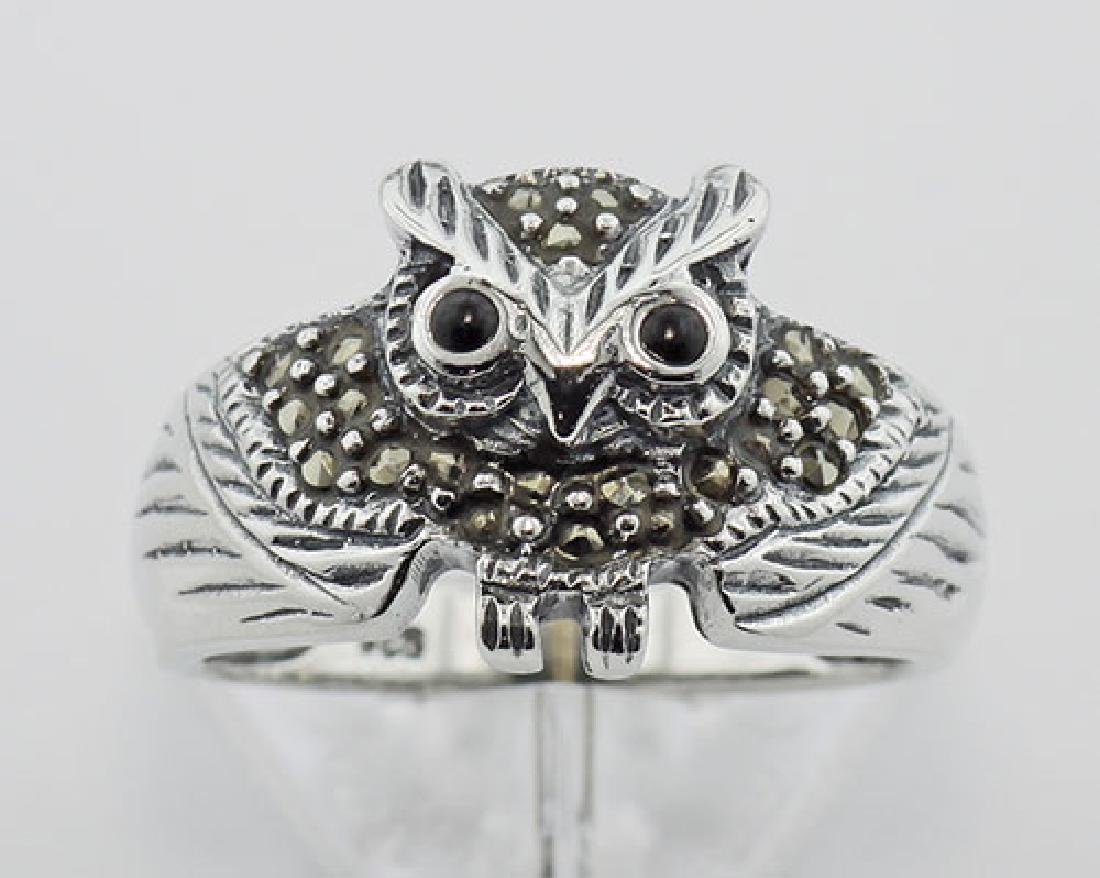 Marcasite Owl Ring w/ Onyx Eyes - Sterling Silver - 2