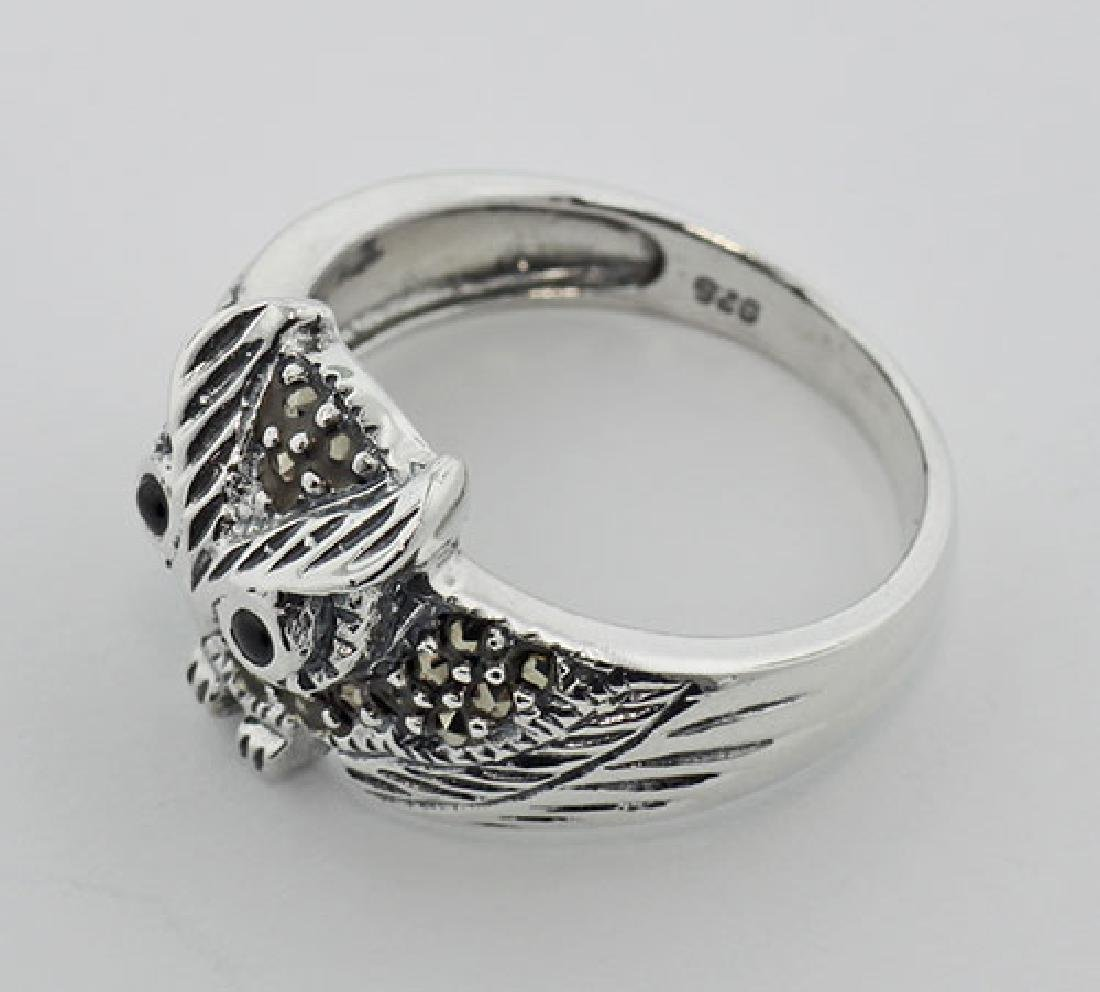Marcasite Owl Ring w/ Onyx Eyes - Sterling Silver - 3