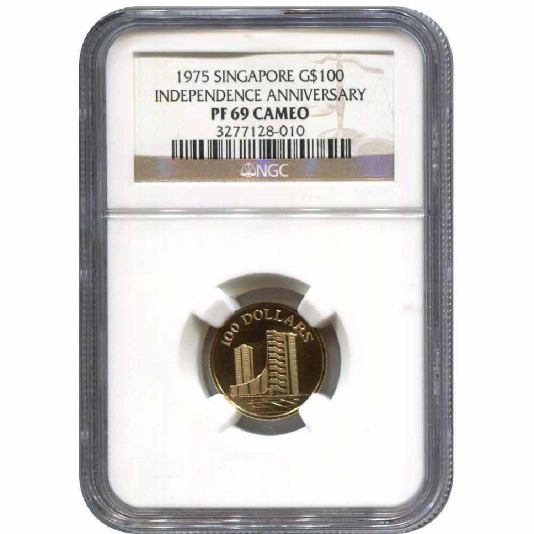 Singapore $100 Gold 1975 PF69 NGC 10th Anniversary of I