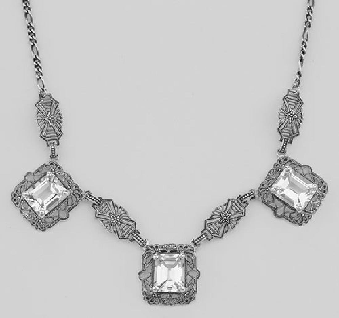 Art Deco Style 3 Gemstone White Topaz Filigree 17.5 In