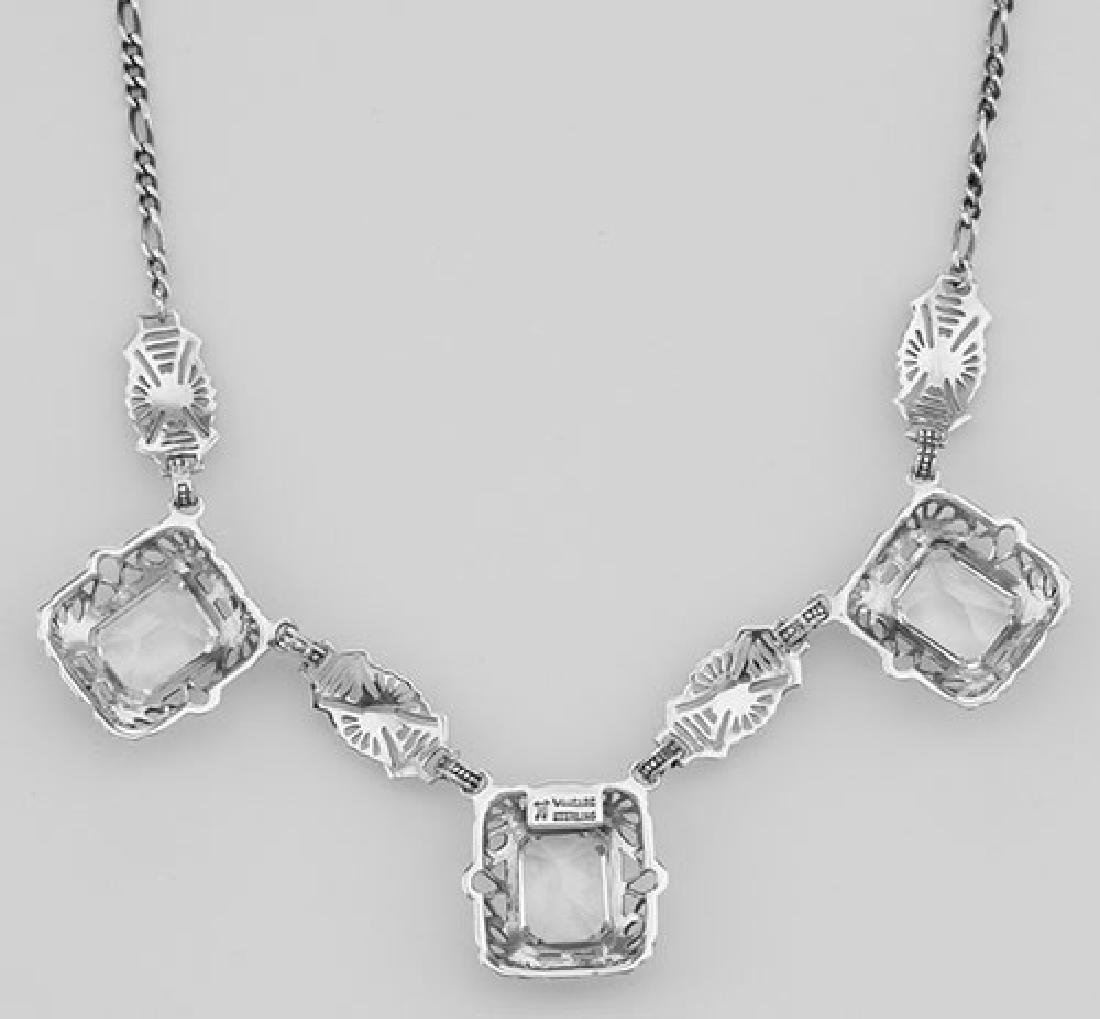 Art Deco Style 3 Gemstone White Topaz Filigree 17.5 In - 2