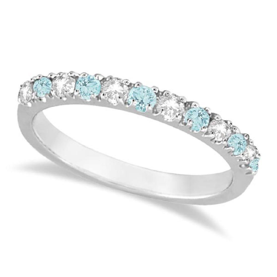 Diamond and Aquamarine Ring Guard Anniversary Band 14k