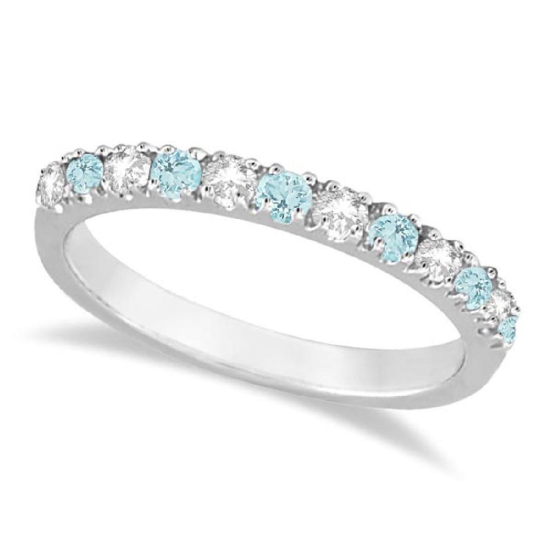 Diamond and Aquamarine Ring Guard Anniversary Band 14k
