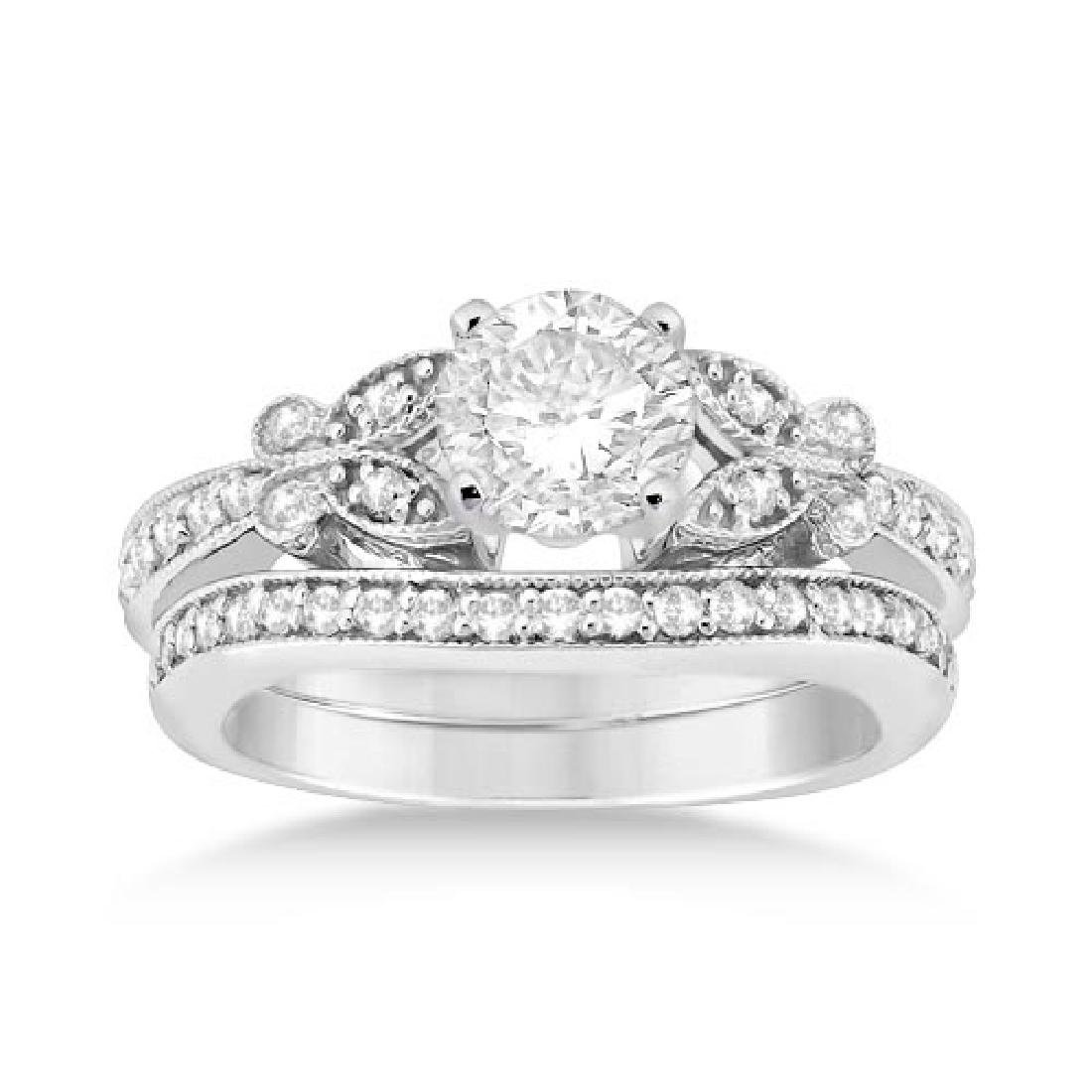 Butterfly Engagement Ring and Wedding Band Bridal Set 1