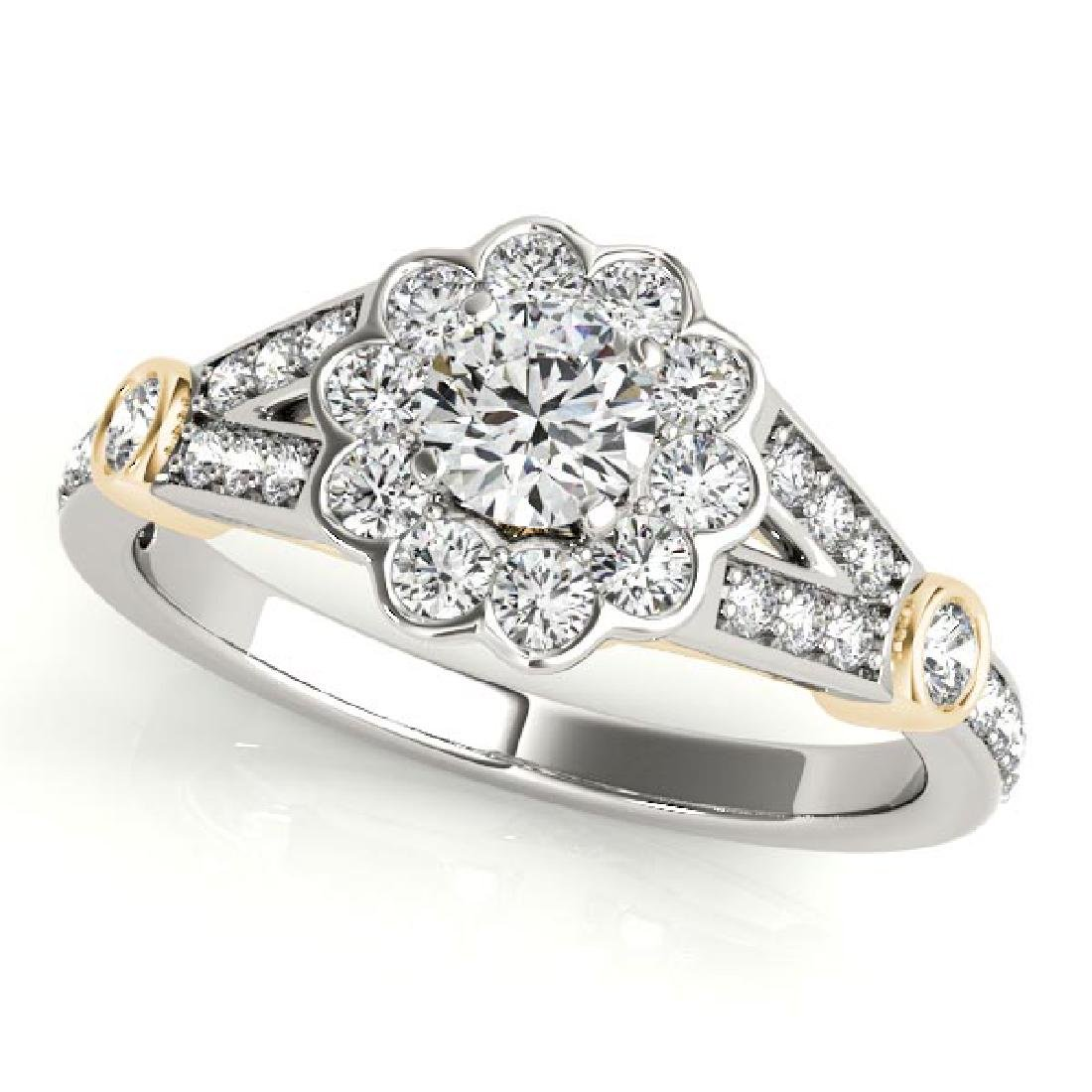CERTIFIED TWO TONE GOLD 1.54 CT G-H/VS-SI1 DIAMOND HALO