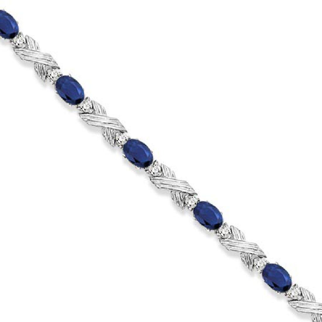 Blue Sapphire and Diamond XOXO Link Bracelet in 14k Whi