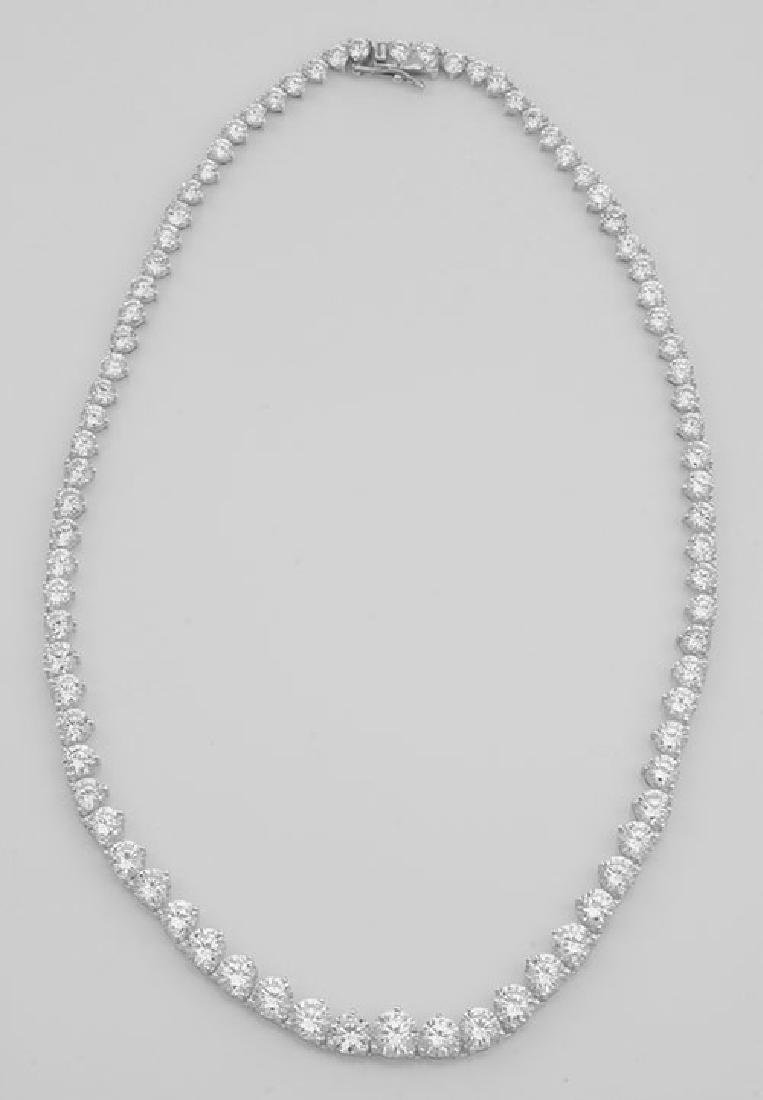 Lovely 81 Prong Set CZs Cubic Zirconia Necklace in Fin