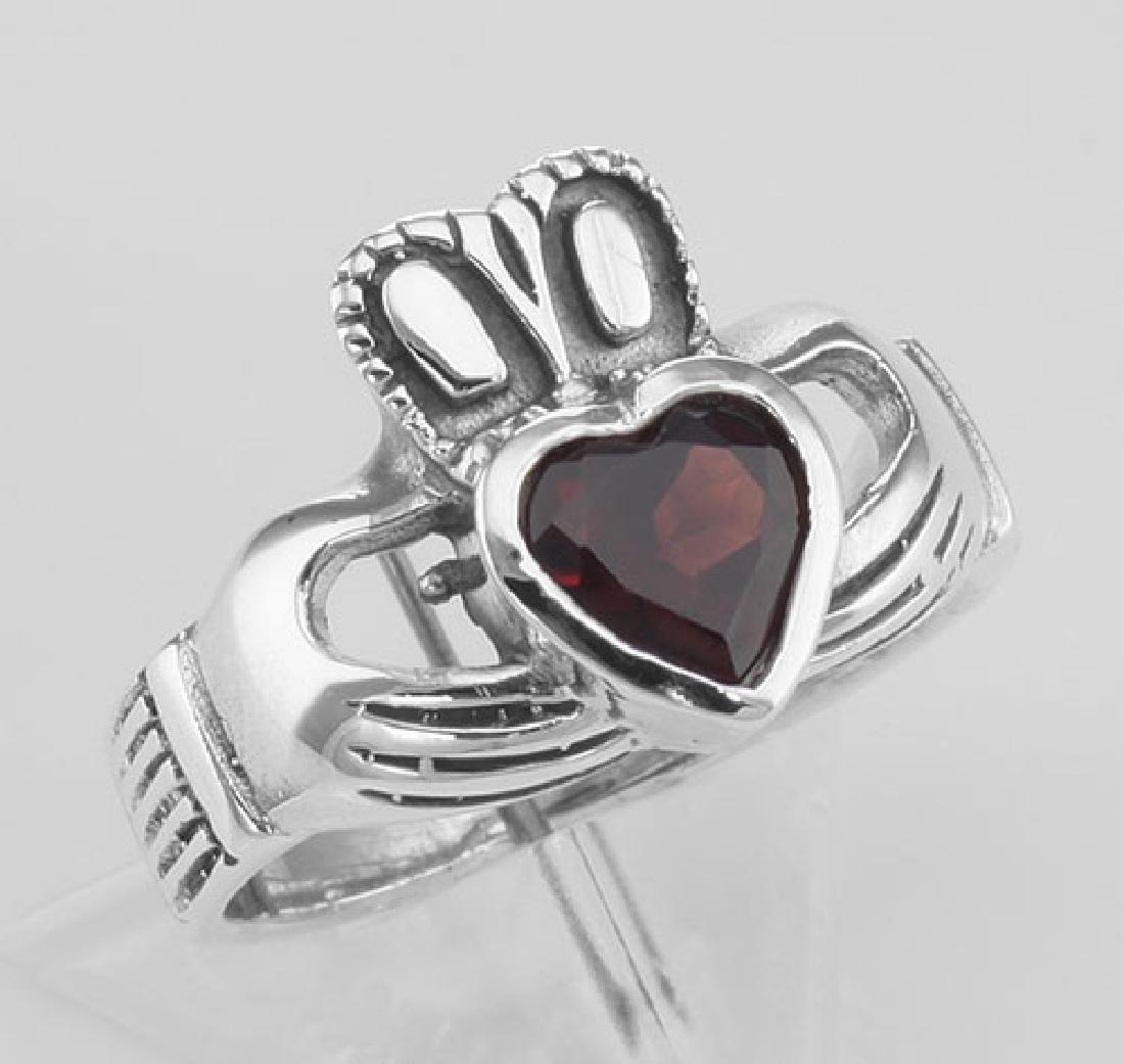 Irish Claddagh Ring with Genuine Red Garnet - Sterling