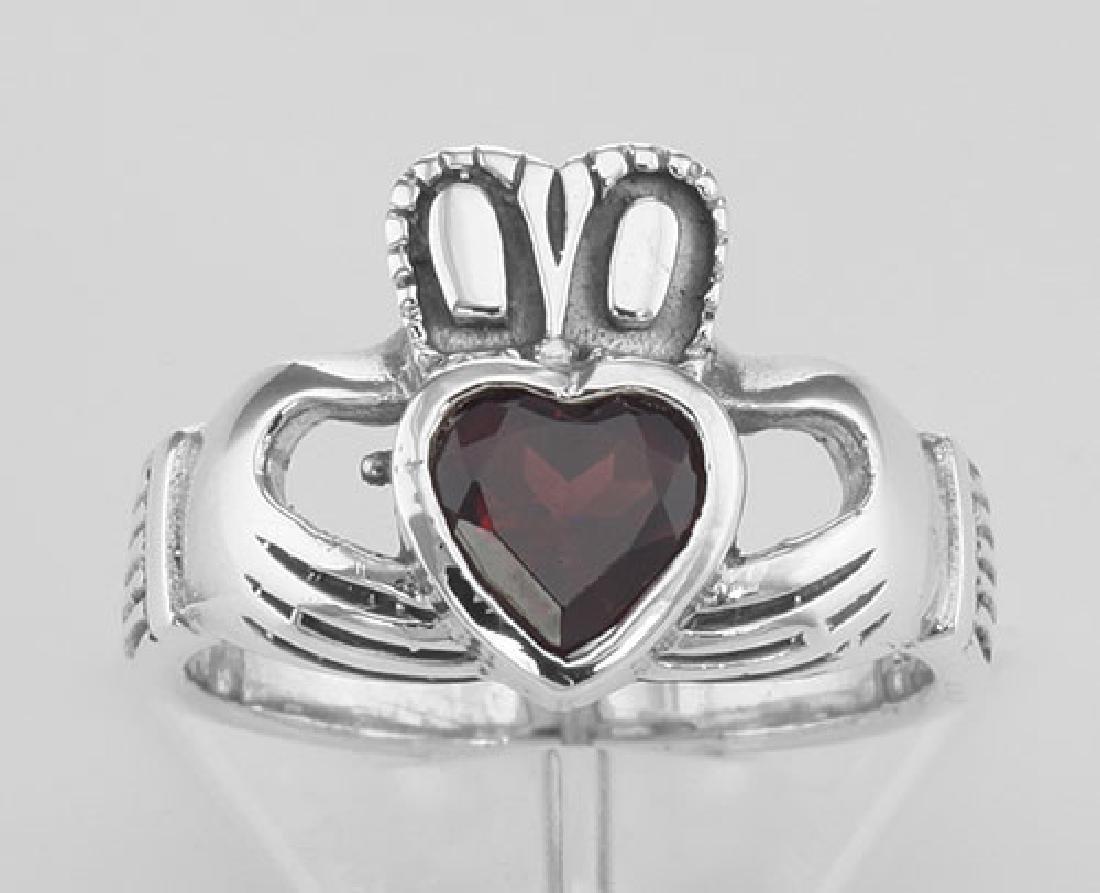 Irish Claddagh Ring with Genuine Red Garnet - Sterling - 2