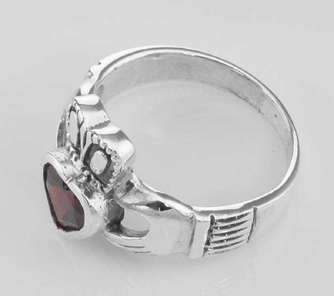 Irish Claddagh Ring with Genuine Red Garnet - Sterling - 3