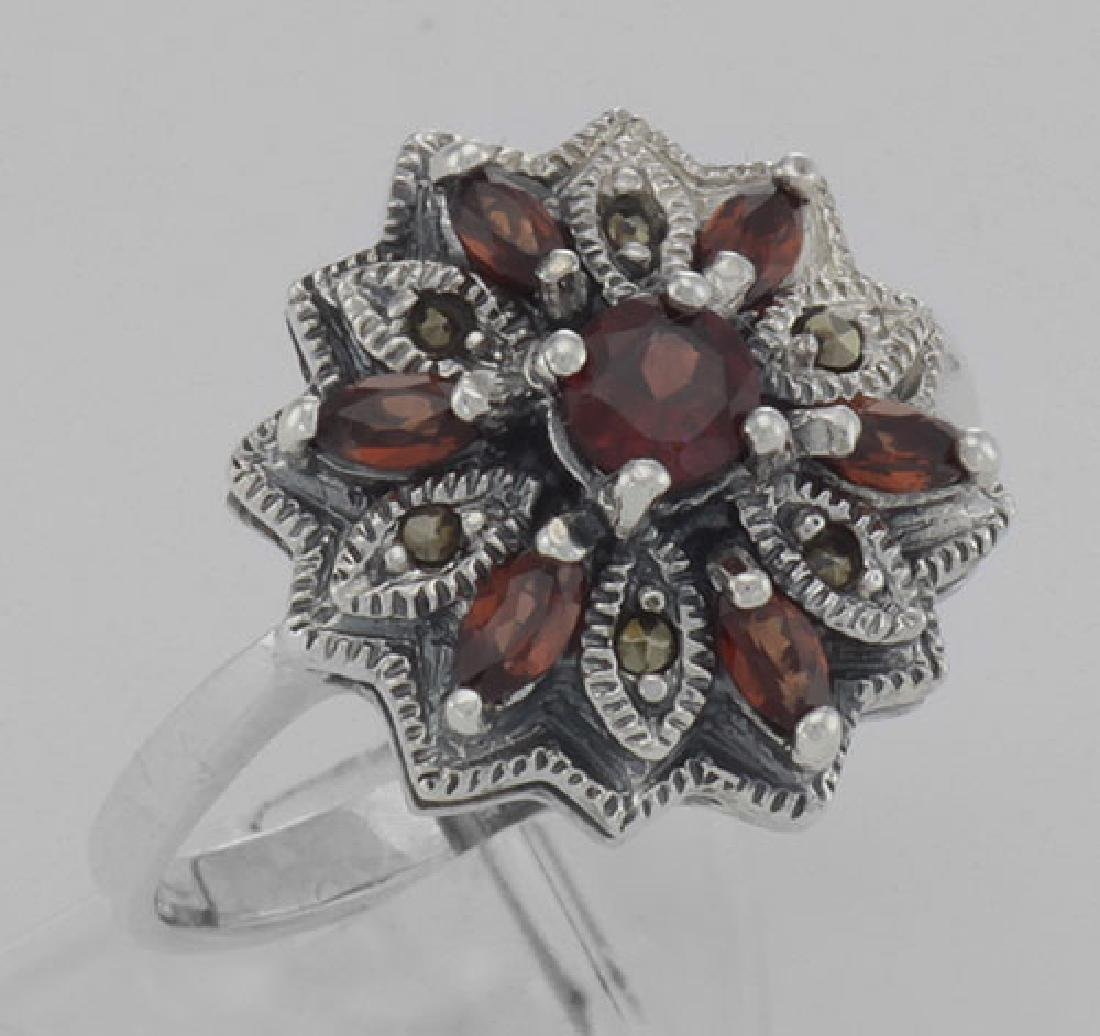 Victorian Style Floral Design Red Garnet and Marcasite