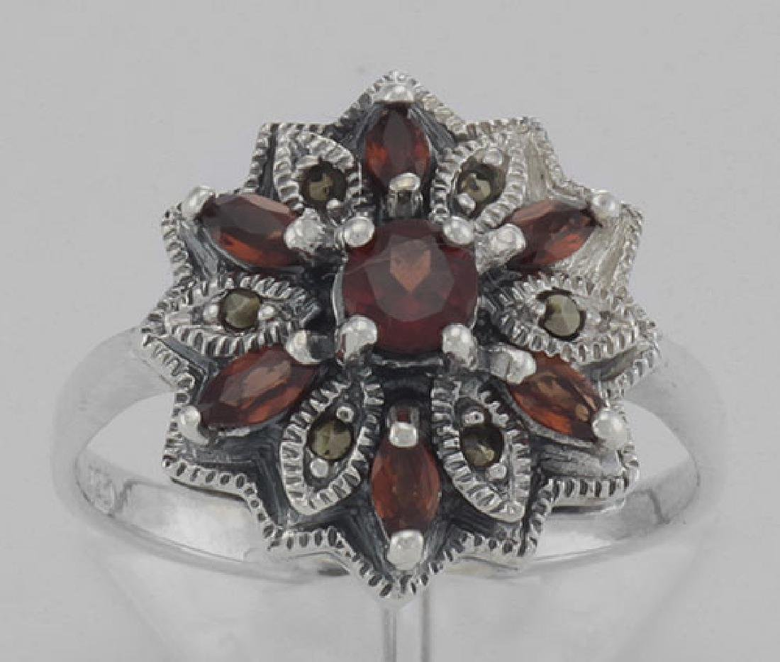 Victorian Style Floral Design Red Garnet and Marcasite - 2