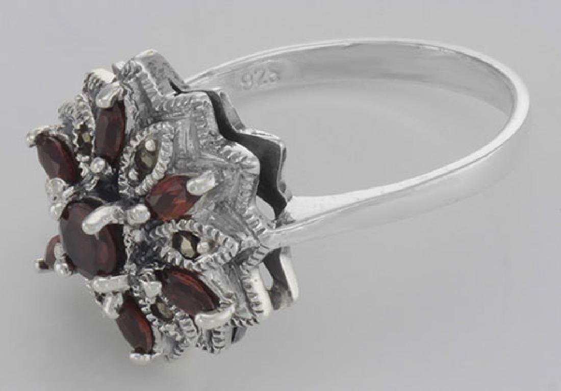 Victorian Style Floral Design Red Garnet and Marcasite - 3