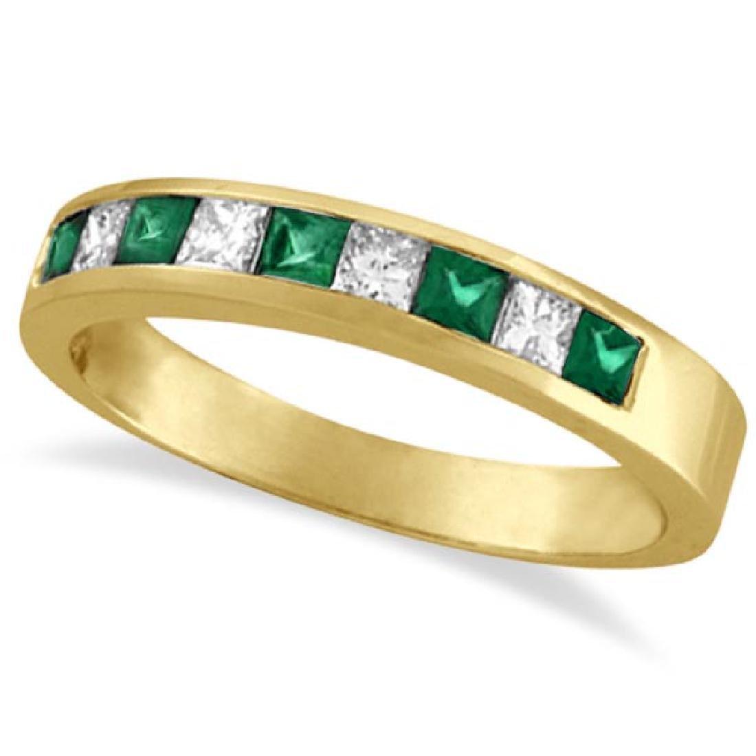 Princess-Cut Diamond and Emerald Ring Band 14k Yellow G