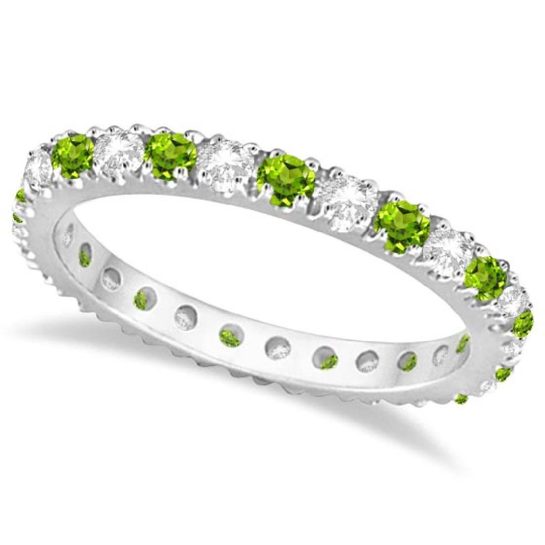 Diamond and Peridot Eternity Ring Stackable Band 14K Wh