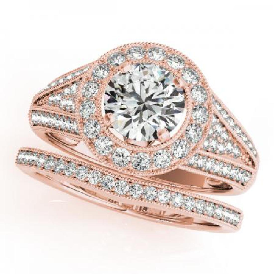 CERTIFIED 14KT ROSE GOLD 0.95 CT G-H/VS-SI1 DIAMOND HAL