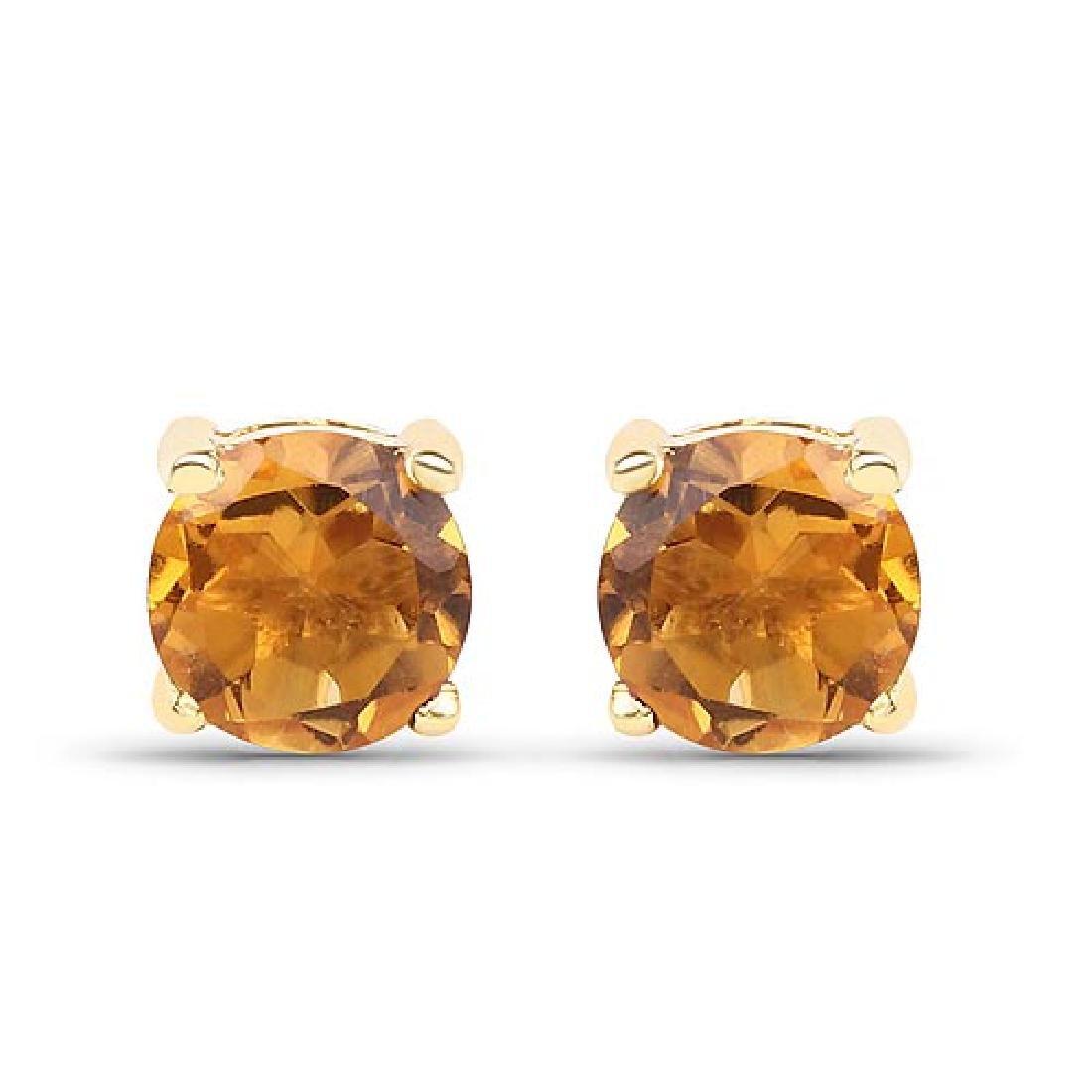 0.46 Carat Genuine Citrine 10K Yellow Gold Earrings