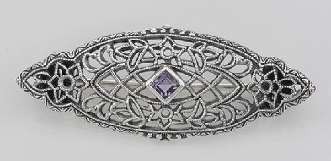 Antique Victorian Style Amethyst Pin / Brooch - Sterlin