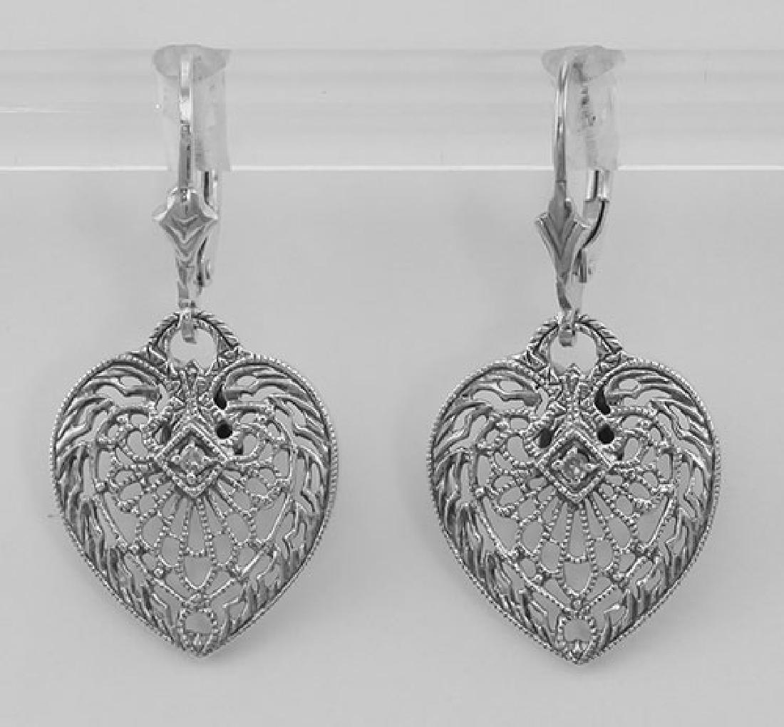 Antique Style Heart Shaped Filigree Earrings w/ Diamond