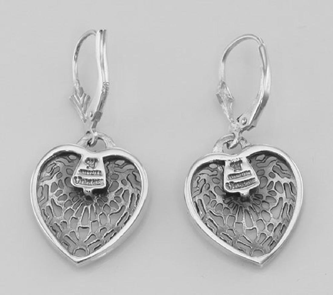 Antique Style Heart Shaped Filigree Earrings w/ Diamond - 2