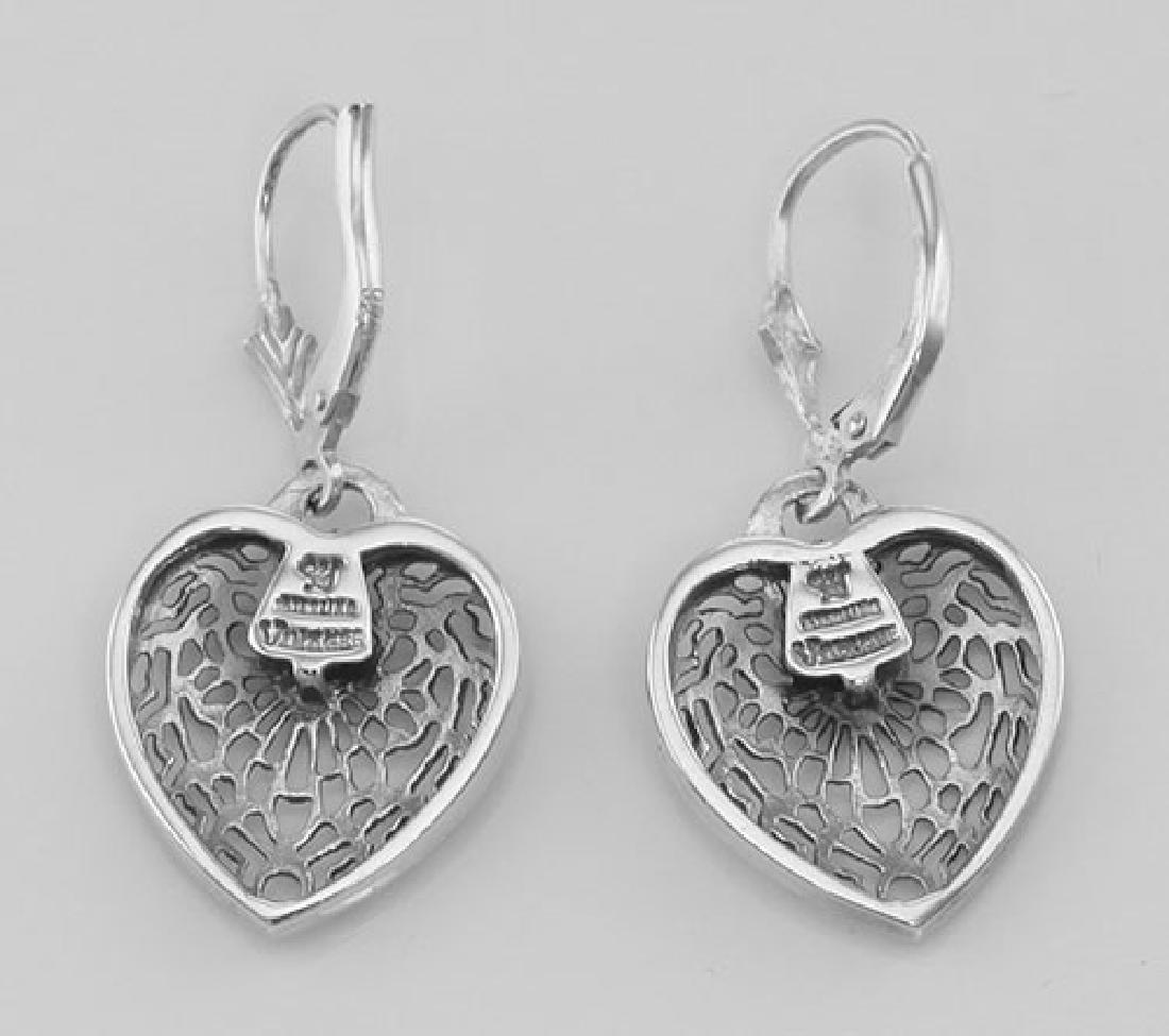 Antique Style Heart Shaped Filigree Earrings w/ Diamond - 2