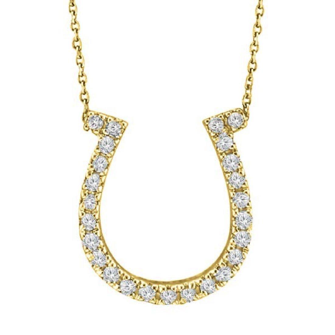 Diamond Horseshoe Pendant Necklace 14k Yellow Gold (0.2