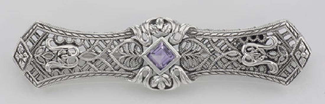 Art Deco Style Amethyst Filigree Bar Pin / Brooch - Ste