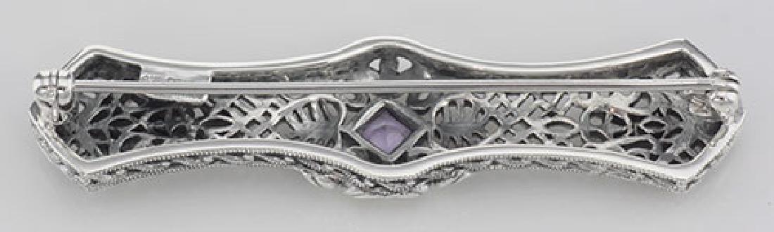 Art Deco Style Amethyst Filigree Bar Pin / Brooch - Ste - 2