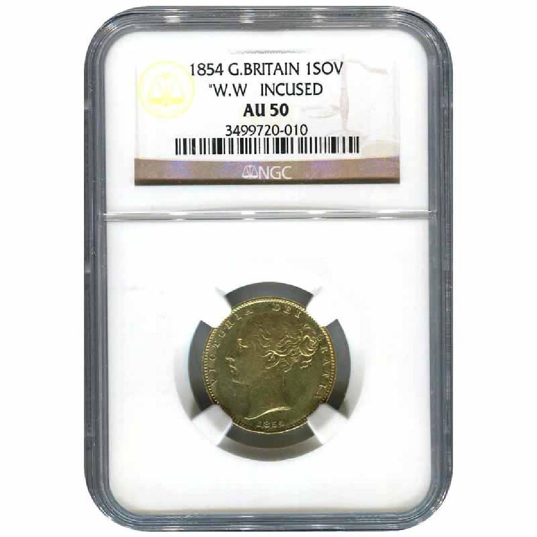 Great Britain 1854 gold sovereign W.W. incuse AU50 NGC