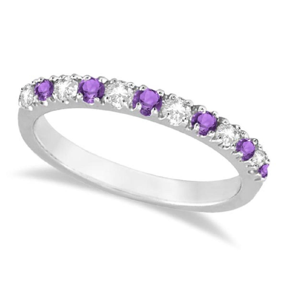 Diamond and Amethyst Ring Guard Stackable Band 14k Whit