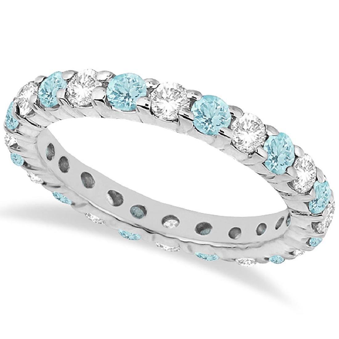 Eternity Diamond and Aquamarine Ring Band 14k White Gol