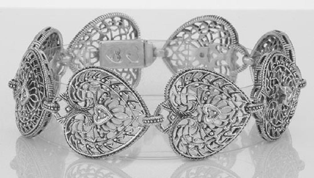 Victorian Style Filigree Diamond Heart Bracelet in fine
